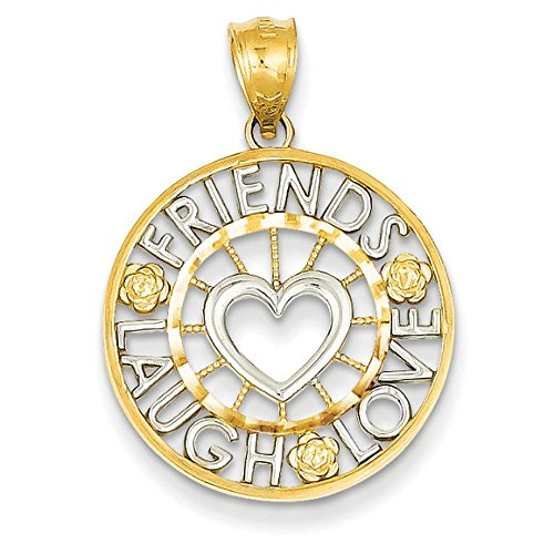 14 carats et Rhodium Friends Laugh Love-JewelryWeb pendentif en forme de cercle