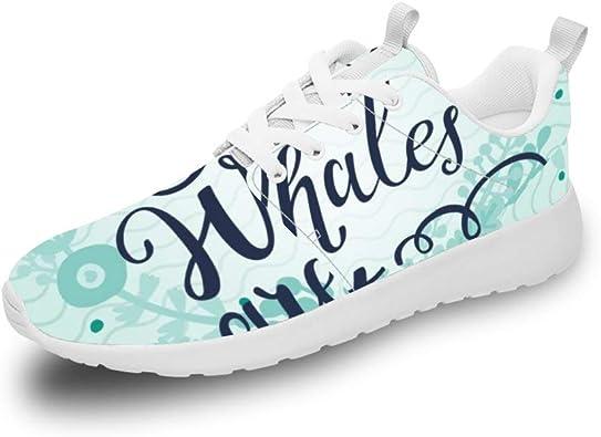 Mesllings Zapatillas de Running Unisex con diseño de Ballenas con Fondo Verde y Zapatos Deportivos Ligeros para Exteriores: Amazon.es: Zapatos y complementos