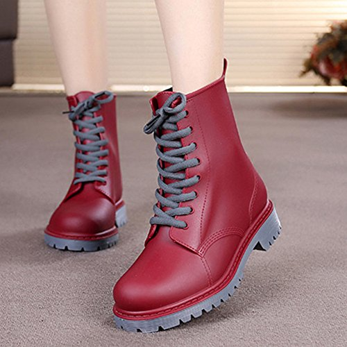 Womens Cute Print Waterproof Lace-up Ankle Rain Boot Red 3XJ0x9sAS