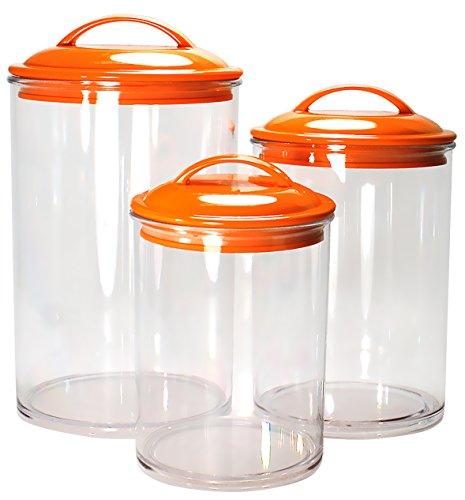 Orange canister set for Kitchen set orange