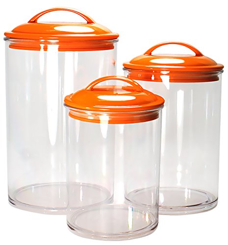 Calypso Basics by Reston Lloyd Acrylic Storage Canisters, Set of 3, Orange