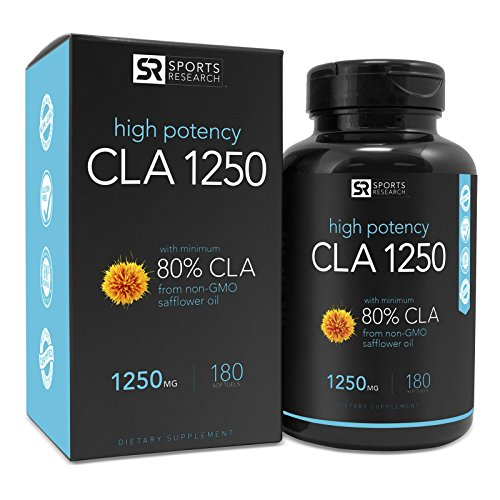 High Potency CLA 1250 from non-GMO Safflower Oil ~ 180 Veggie Softgels | All Natural, Vegan Safe and Gluten Free Weight loss Supplement ~ Made with Organic Lemon Oil