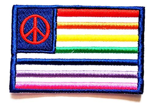 Nipitshop Patches LGBT Pride Rainbow Flag Patch Peace Sign Symbol Hippie Retro Weed Love Kids Cartoon Patch Applique for Clothes Great as Happy Birthday -