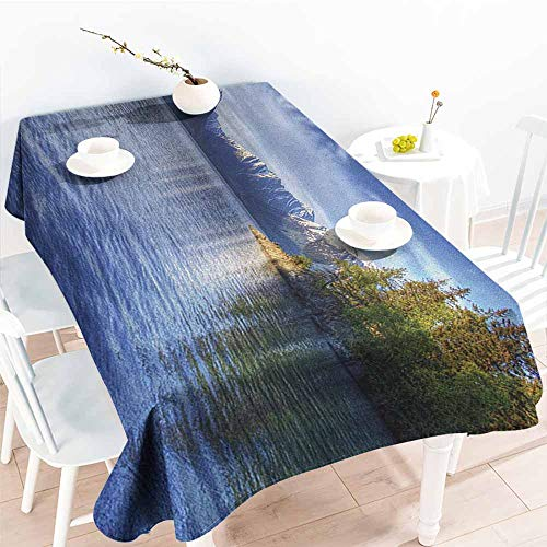 familytaste Alaska,Multifunctional Table Cover Turnagain Arm of The Cook Inlet Anchorage Idyllic Lakeside Photography 50