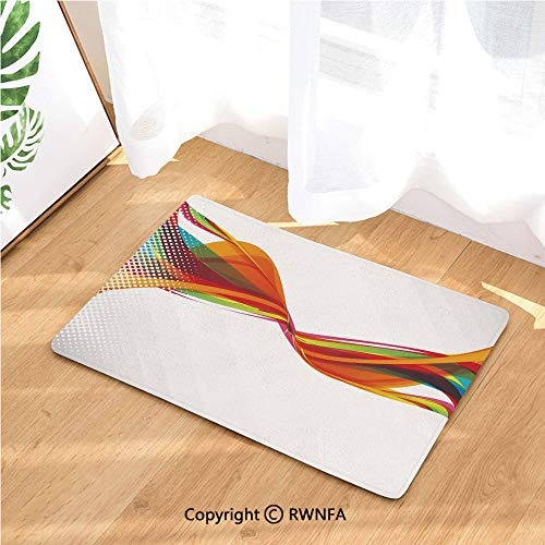 Flannel Bath Mat Rainbow Curved Wave Smoke Like Image with Pixel Style Detailed Work of Art Print Luxury Cushioned Pad for Bathroom Floors Non-Slip, Absorbent, Baby Shower Mats and Dries Feet,Multico