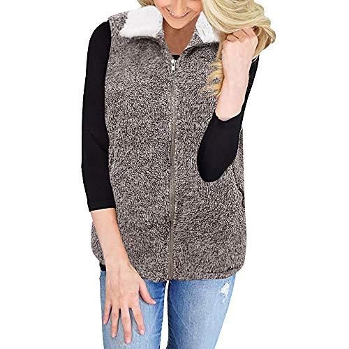 NUWFOR Outwear Vest Women Faux Fur Waistcoat Sleeveless Jacket for Winter/Autumn(Coffee,4XL)
