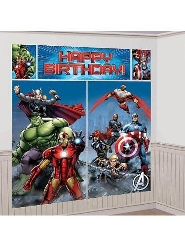 New Art AVENGERS SCENE SETTER Happy Birthday Party Wall Decoration Decor HULK IRON MAN