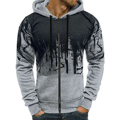 PASATO Men Zipper Gradient Color Pullover Long Sleeve Hooded Sweatshirt Tops Blouse New Sale(Gray,XL=US:L)