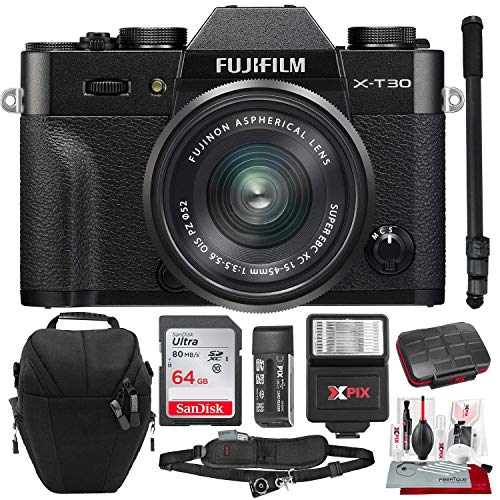 Fujifilm X-T30 4K Wi-Fi Mirrorless Digital Camera with XC 15-45mm Lens Kit - Black with 64GB Deluxe Bundle and Travel Photo Cleaning Kit from Fujifilm
