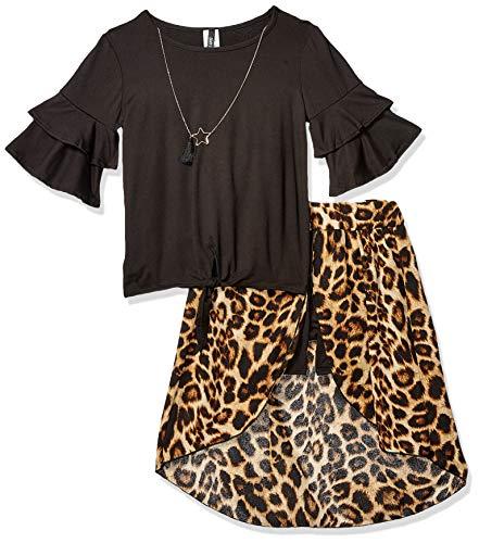 Instagirl Girls' Big Knit Top and Romper Skirt Set, Black/Leopard 10/12 -