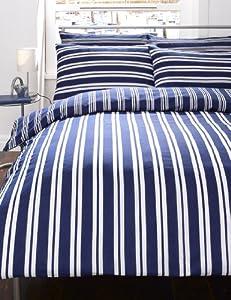 Navy Blue Amp White Striped King Size Duvet Cover Bed Set