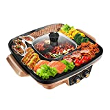 YJIUJIU Electric BBQ Hot Pot, Portable Electric Grill Indoor Barbecue 2-in-1 Super Pot with Grill Plate, Suitable for 2-3 Person Family Dinner,Gold