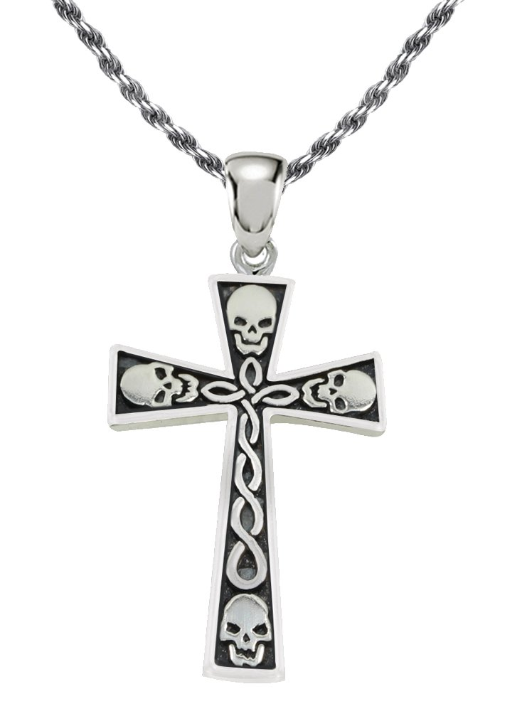 0.925 Sterling Silver Skull Cross Pendant 3.0mm Curb Necklace, 24''
