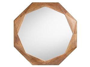 Aprodz Mango Wood Isaur Wall Decorative Mirror Frame| Wooden Mirror | Brown Finish