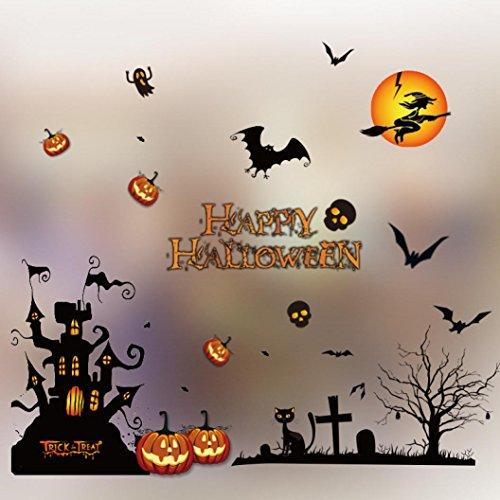 Cute Halloween Wallpaper Desktop (Wall Stickers, Hunzed DIY Wall Stickers Happy Halloween Bone Wall Stickers Home Decor Decal Art Decor Decorations (C))