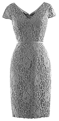 Bride Party of Sleeve Mother MACloth Vintage Lace Short Silber Dress Women Wedding Cap nUWWqP086