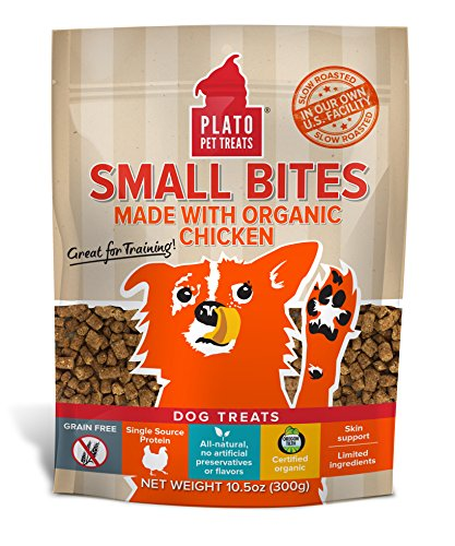 PLATO Dog Treats -- Organic Chicken --  Pet Treats, All-Natural, Non-GMO, No Artificial Flavors, or Preservatives, Made in the USA