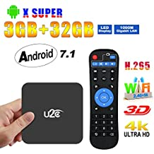 2017 Android Tv Box 3gb Ram 32gb ROM, U2C X Super Android 7.1 Smart Tv Box Amlogic S912 Octa Core 4K Update Ultra HD 2.4G 5G Dual-Band Wifi with LED Display