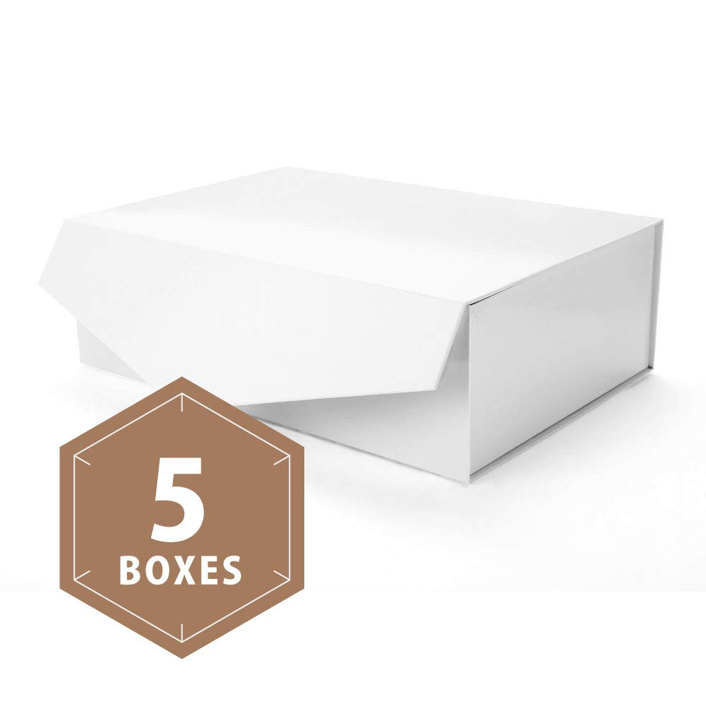 PACKHOME Large Gift Boxes Rectangular 14x9.5x4.5 Inches Bridesmaid Proposal Boxes, Sturdy Storage Boxes, Collapsible Gift Boxes with Magnetic Closure (Glossy White, 5 Boxes) by PACKHOME