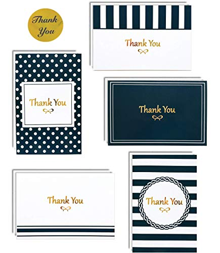100 Thank You Cards Box Set with Gold Foil Letterpress | 4 x 6 Inches Bulk Blank Note Cards with Envelopes and Gold Stickers | Perfect for Wedding Bridal Shower Baby Shower Graduation Kids (Navy Blue) ()