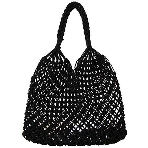 35cm 50cm SUNAVY Negro para Bolso paja de mujer al hombro wFv78