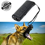 HiGuard Ultrasonic Dog Repeller Pet Training Device 3 in 1 LED Anti Barking Stop Bar Handheld with 9 Volt Battery (Black)