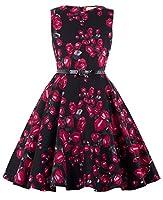 Kate Kasin Girls Sleeveless Vintage Print Swing Party Dresses 6-15 Years