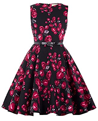 Kate Kasin Girls Sleeveless Vintage Floral Swing Party Dresses