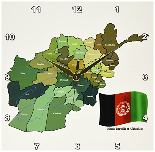 3dRose dpp_99098_1 The Map and Flag of The Islamic Republic of Afghanistan with All The Provinces Marked-Wall Clock, 10 by 10-Inch by 3dRose
