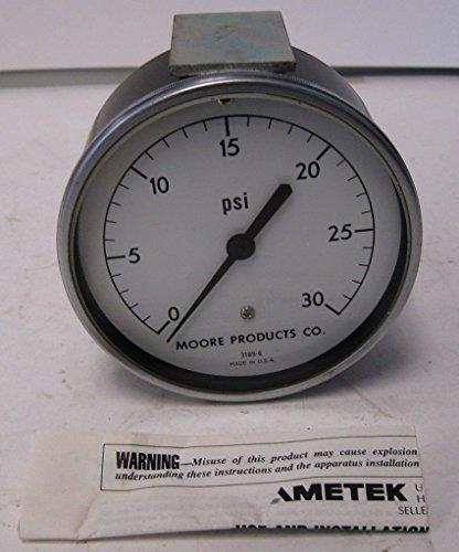 US Gauge Moore Products Ametek Model 3189-6 0 to 30 PSI Pressure Gauge