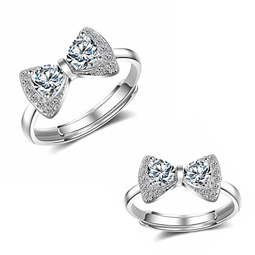 (Very Feminine!Women Girl Cute Platinum Plated Bow Tie Ring Brilliant CZ Paved Engagement Ring Adjustable)