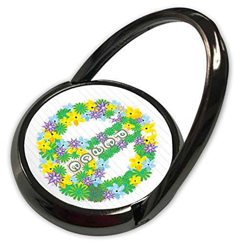 3dRose Anne Marie Baugh Signs - Green, Purple, Yellow Flowered Peace Sign - Phone Ring (phr_101288_1)