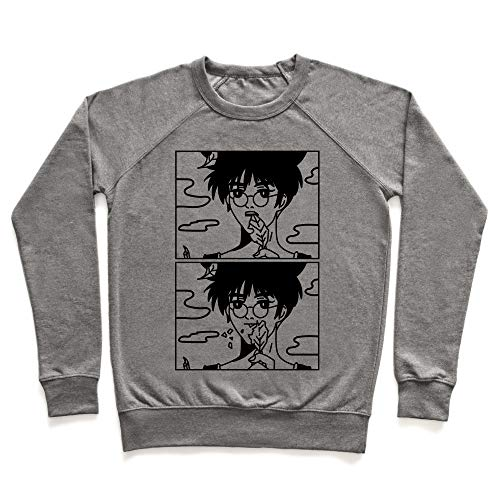 LookHUMAN Anime Guy Eating a Leaf Medium Heathered Gray Unisex Crewneck Sweatshirt ()