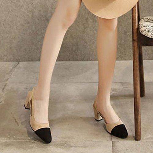 Correa Tacones acentuada Zapatos Xianshu Bloque 38 Mezcla la Mujeres de de Color Albaricoque con Sintético Sandalias Cabeza Sandalias 8FFHw76qx