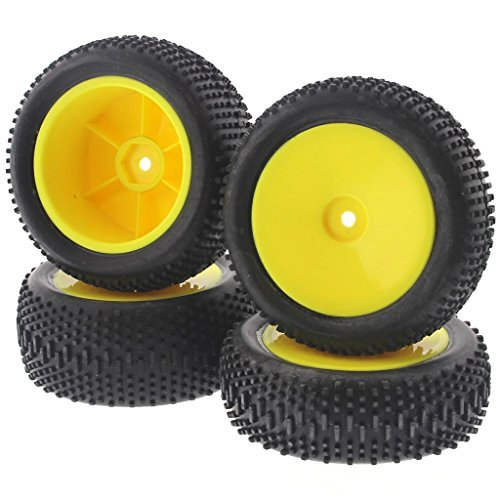 Losi 1/14 Mini 8ight Buggy * KING PIN TIRES, YELLOW WHEELS * Front Rear 12mm Hex - King Buggy