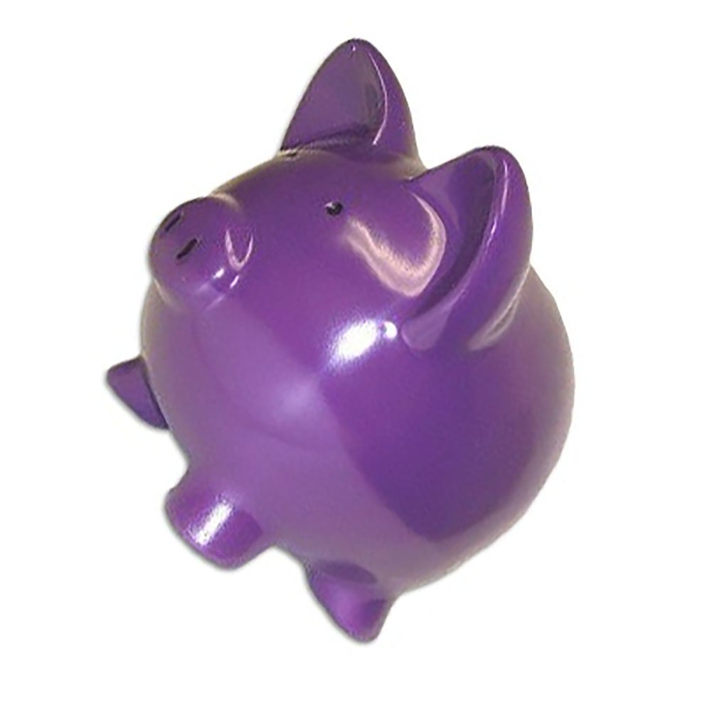 """Completely Custom {13"""" x 13'' Inch} 1 Single Large, Coin & Cash Bank Decoration for Holding Money, Made of Grade A Genuine Ceramic w/ Contemporary Solid Matte Bank Piggy Style {Purple & Black}"""
