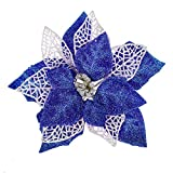 Louiesya Pack of 12 Pcs Glitter Poinsettia