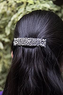 Wildflower Hair Clip - Hand Crafted Metal Barrette Made in the USA with a Medium 70mm Imported French Clip By Oberon Design