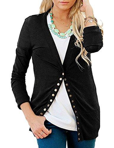 Shineya Women Long Sleeve V-Neck Button Down Knit Cardigan Sweater Black M (Womens Snap Black)