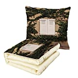 Quilt Dual-Use Pillow Shutters Decor Cultural Ancient Mediterranean Wood Window Shutter Surrounded by Ivy Image Print Multifunctional Air-Conditioning Quilt Ecru White Green