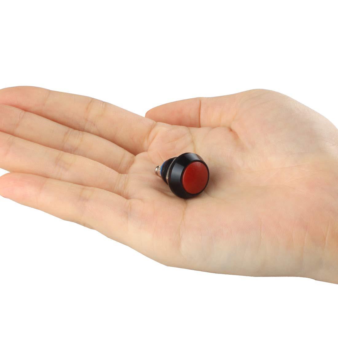 Larcele 12mm Pulsante Momentaneo Mini in Metallo Impermeabile Bottone con Morsetto a Vite,10 Pezzi JSANKG-13 Verde