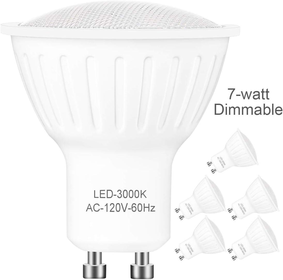 6 Pack,GU10 LED Bulbs Dimmable,7-Watt(Equivalent 65W Halogen Lamp),Bi Pin Base,warmWhite 3000K Kelvin,120° BroadBeam Angle,700 Lumens,120V Small Flood Light Bulbs Indoor Recessed Track Lighting