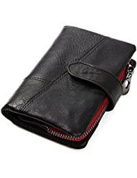 Mens Wallet, Minimalist Vintage Cowhide Leather Wallet With zipper pocket for men