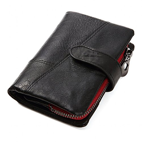 Men's Leather Wallet, Vintage Cowhide Genuine Leather Mens Wallet with Zipper Coin Pocket (Black)