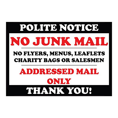polite notice no junk mail flyers leaflets menus door sticker sign