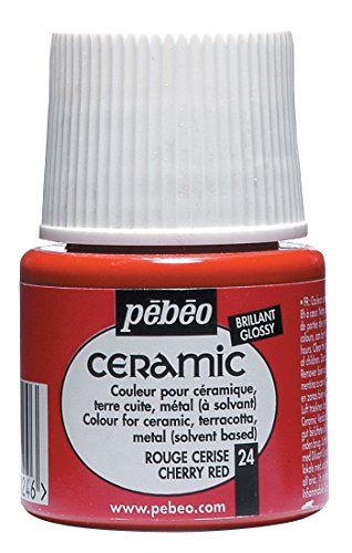 PEBEO 025-024 Ceramic, Enamel Effect Paint, 45 ml Bottle - Cherry Red