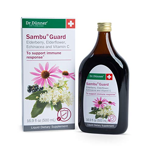 Dr. Dünner Sambu Guard Black Elderberry Syrup with Elderflower, Echinacea & Vitamin C, 16.9 fl oz - for Immune Support, Non-GMO, Gluten Free, Lactose Free, Vegetarian