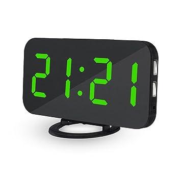 Reloj despertador digital para mesilla a corriente teepao Reloj Digital con pantalla grande LED de 6,5 modos, función superficie 60, dobles Puertos de Carga ...