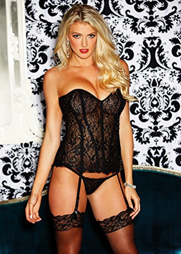 Shirley of Hollywood Women's Eyelash Lace Rhinestone Corset Black 38 ()