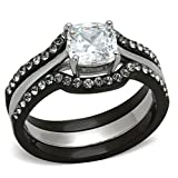 Black Stainless Steel Wedding Ring Set Cushion Cut Cubic Zirconia Women size 7 SPJ
